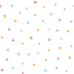 Seamless pattern with small colorful triangles on a white background. Vector repeating texture.