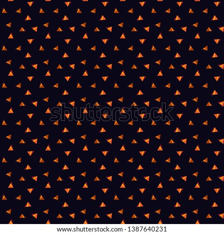 seamless pattern with small tringle in midnight blue background. pattern contains orange and yellow color tringle in midnight blue background.