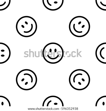 Seamless pattern with smiling faces on white background. Smile line icon background. Vector illustration