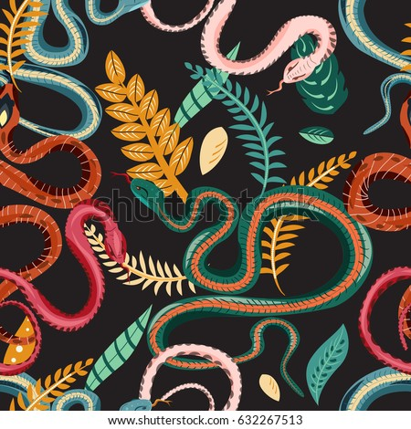 Seamless pattern with snakes and plants. Colorful wallpaper on a tropical theme on  dark background.