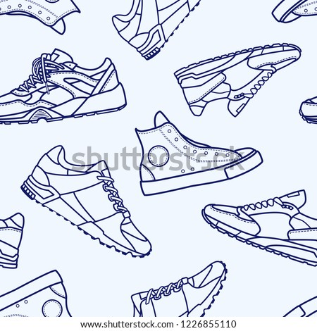 Seamless Pattern with Sneaker Shoe Flat Line Stroke Icon Pictogram Symbol Illustration isolated on white background. Backdrop with stylish sneakers or modern sports footwear for running and workout.
