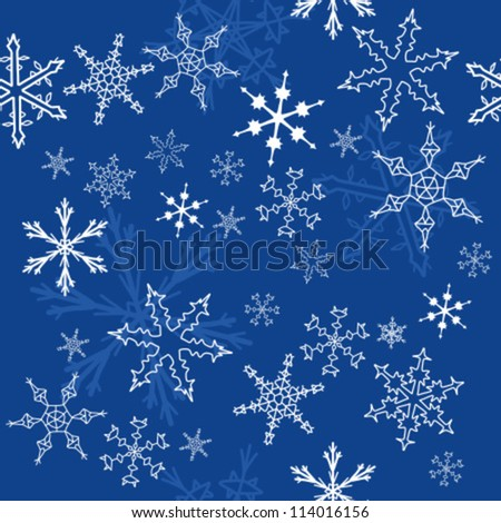 Seamless pattern with snowflake winter icons. Christmas background. - stock vector