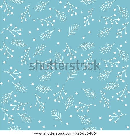 Seamless pattern with snowflakes and fir branches. Vector illustration.