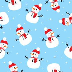 Seamless pattern with snowman. Design for wrapping, fabric, print. Vector illustration.