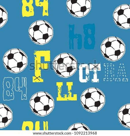 seamless pattern with soccer ball vector illustration