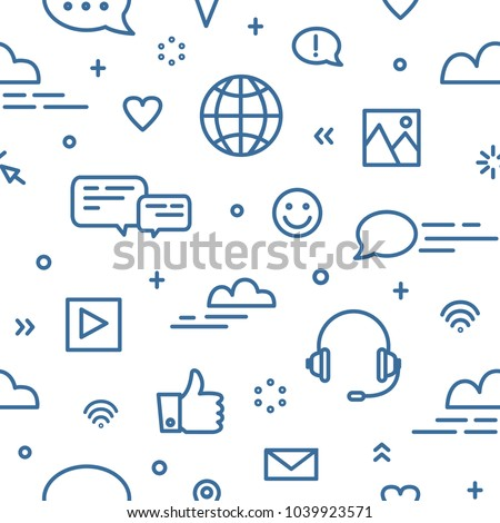 Seamless pattern with social media and networking, global internet communication, chatting and instant messaging symbols on white background. Vector illustration in line art style for wallpaper