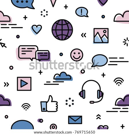 Seamless pattern with social networking, global online communication, instant messaging symbols on white background. Vector illustration in line art style for wallpaper, backdrop, wrapping paper.