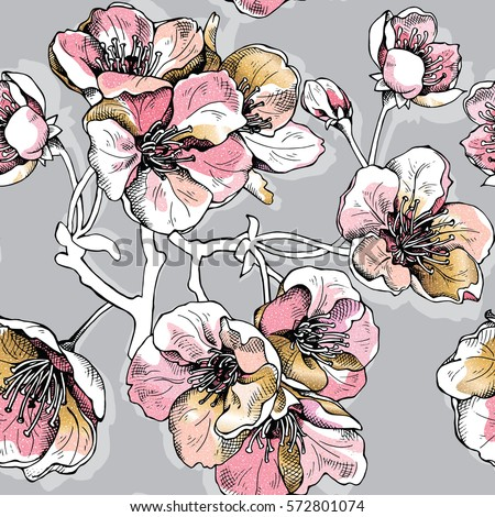 seamless pattern with soft pink ...