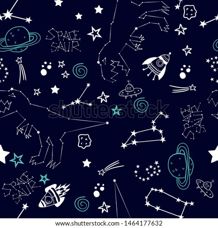 Seamless pattern with Space dinosaur. Hand drawing background  with zodiacs dino. For print, textile, clothes, t shirt, child or wrapping  paper. Creative boys original design