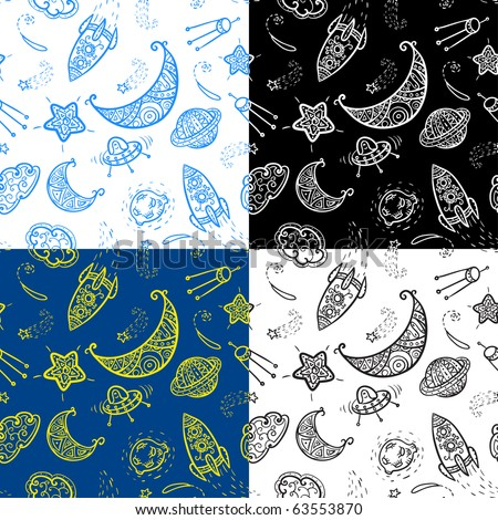 Seamless pattern with space elements