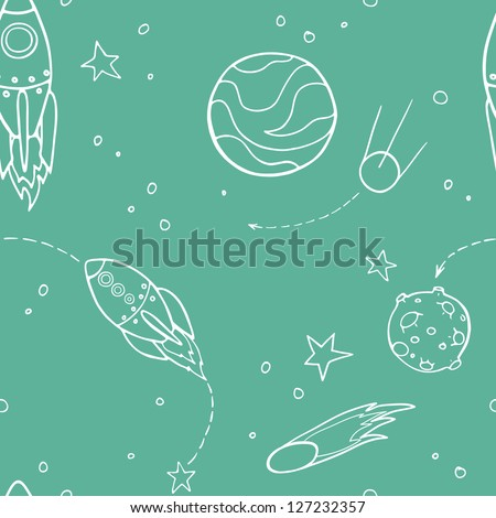 Seamless pattern with space, rockets, comet, planets and stars. Childish background. Vector illustration.