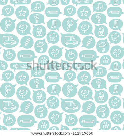 Seamless pattern with speech bubbles and various objects