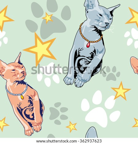 seamless pattern with sphynx cat