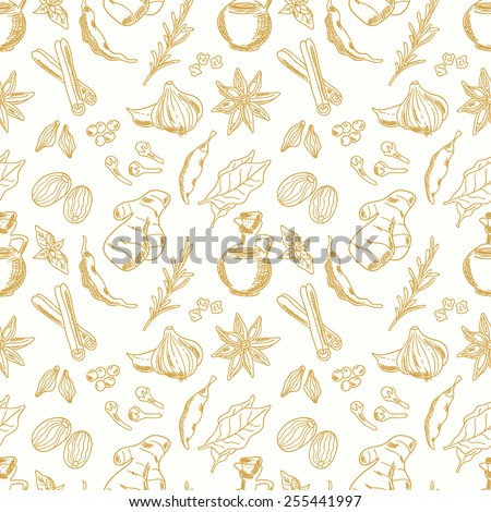 seamless pattern with spices on