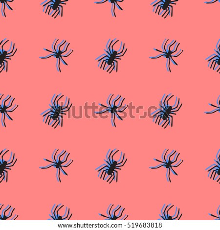 Seamless pattern with spiders. Hand drawn vector illustration. Halloween background.