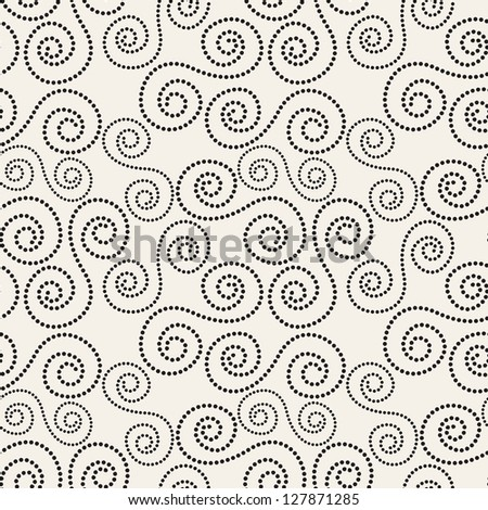 Seamless pattern with spiral curls. Fashionable vector texture. Curly background