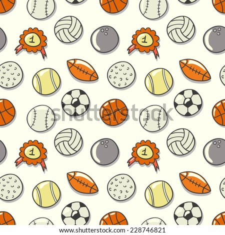Seamless pattern with Sport Ball: football, volleyball, basketball, rugby, tennis, baseball. Hand drawn vector illustration.