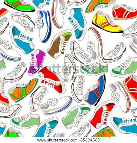 Seamless pattern with sport shoes, snikers on white background - stock vector