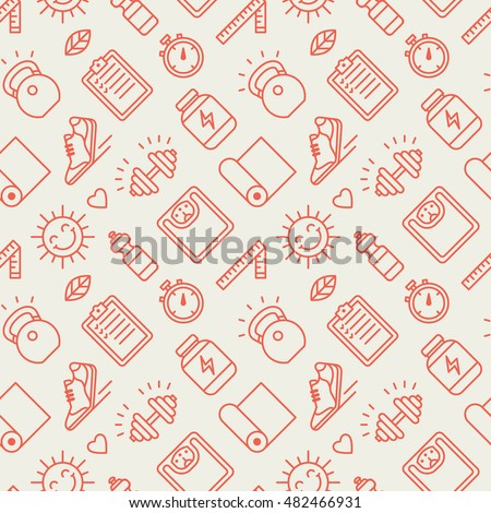 Seamless pattern with sports and fitness icons.