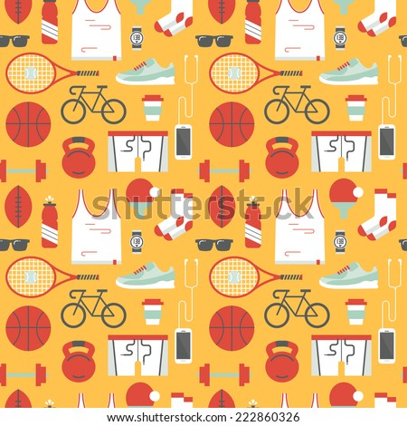 Seamless pattern with sports icons.