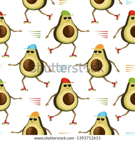 Seamless pattern with sporty roller skating avocados isolated on white. Vector illustration