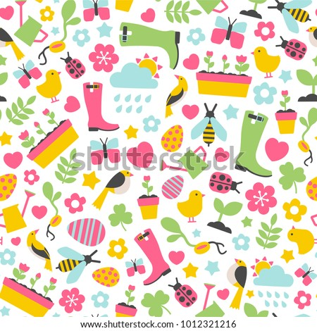 seamless pattern with spring design elements
