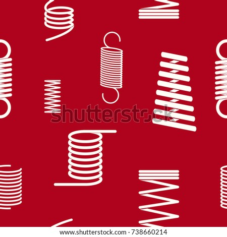 Seamless pattern with Springs on red background