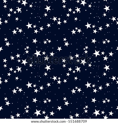 Seamless pattern with star in dark sky.