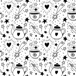 Seamless pattern with stars and celestial elements. Hand drawn pattern with magic teapot and a cup of magic drink. Vector stock illustration black on a white background.