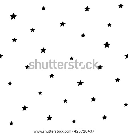 Seamless pattern with stars. Hand drawn vector illustration.