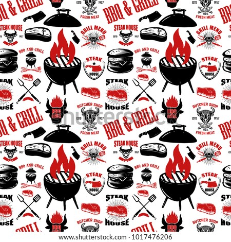 Seamless pattern with steak house symbols. Grill, bbq, fresh meat. Design element for poster, menu, flyer, banner, menu, package. Vector illustration