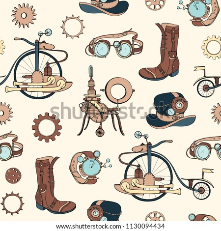 seamless pattern with steampunk