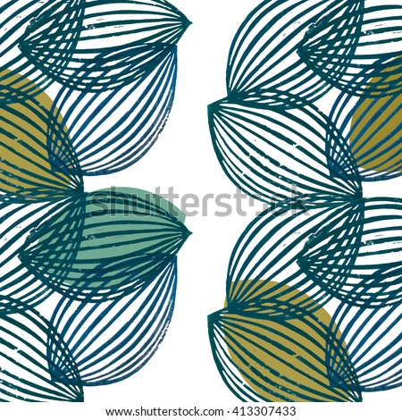 Seamless pattern with striped and solid color teal and mustard almond shaped forms on transparent background. Scandinavian style ikea inspired abstract design for textile and wallpaper.