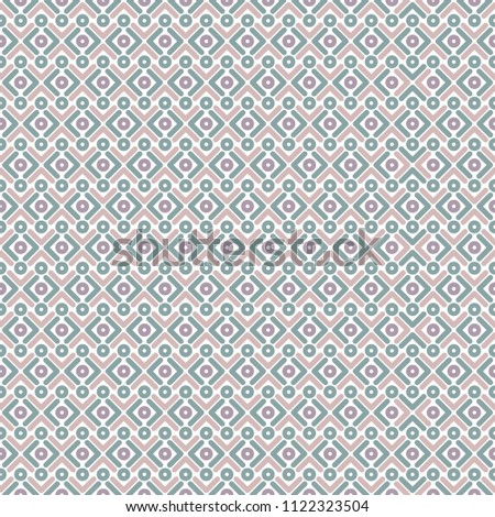 Seamless pattern with strokes and rhomb on white. Ethnic symmetric background. Diagonal rhombus pattern. Geometric seamless  texture. Mosaic plaid. Checkered vector illustration. Blue and pink