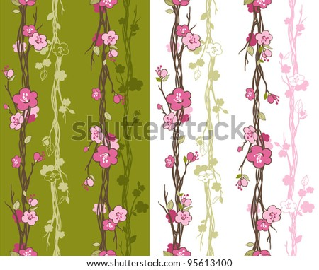 Seamless pattern with styled spring cherry blossoms