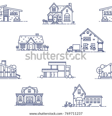 Seamless pattern with suburban houses drawn with blue contour lines on white background. Monochrome backdrop with various living or residential buildings. Vector illustration in lineart style.