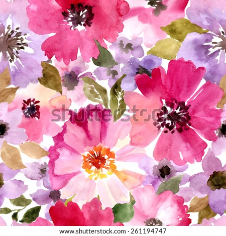 Seamless pattern with summer flowers.Watercolor vector painting.