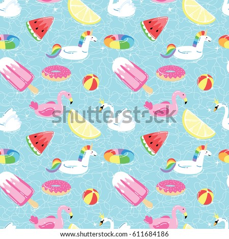 Seamless pattern with summer pool floats in funny cartoon style