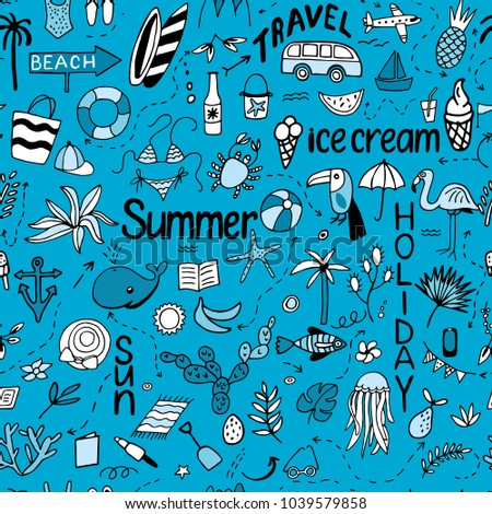 Seamless pattern with summer set of isolated cute images with black lines in doodle style and text lettering for design. Line art illustration with things for beach and holiday on blue. Vector.