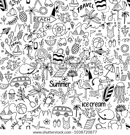Seamless pattern with summer set of isolated cute white images with black lines in doodle style and text lettering for design. Line art illustration with things for beach and holiday. Vector.