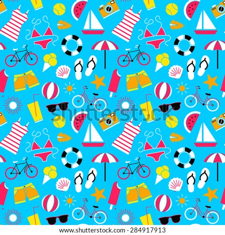 Seamless pattern with summer symbols. - stock vector