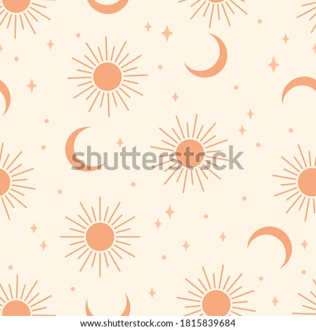 Seamless pattern with sun and moon.  Contemporary  composition. Boho wall decor. Mid century art print. Trendy texture for print, textile, packaging.