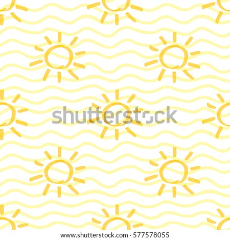 seamless pattern with sun hand