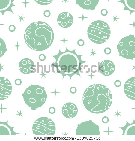 Seamless pattern with sun, planets, stars. Space exploration. Astronomy. Science