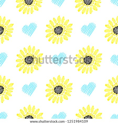 Seamless pattern with sunflowers. Modern background vector illustration