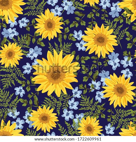 Seamless pattern with sunflowers on navy background. Ditsy decorative floral design and foliage. Flowers, buds and leaf. Vintage hand drawn vector illustration with separate elements.