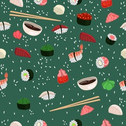 Seamless pattern with sushi and rolls. Vector graphics