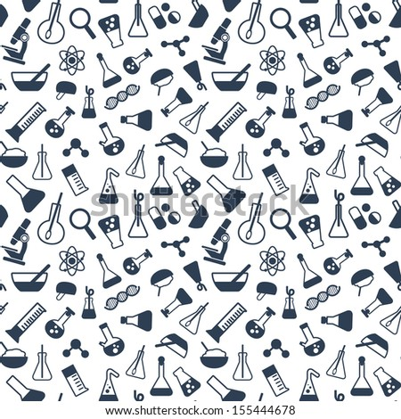 seamless pattern with symbols of science and medicine in a flat style