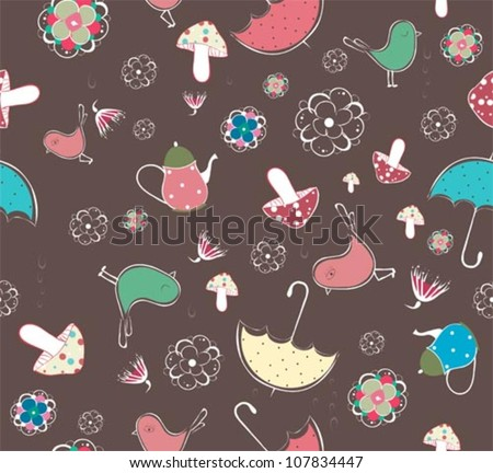 Seamless pattern with teacups, teapots,birds, flowers, mushrooms and umbrella