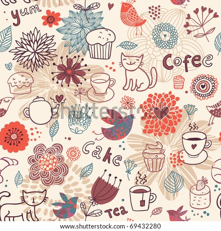 Seamless pattern with teacups, teapots, cakes and flowers